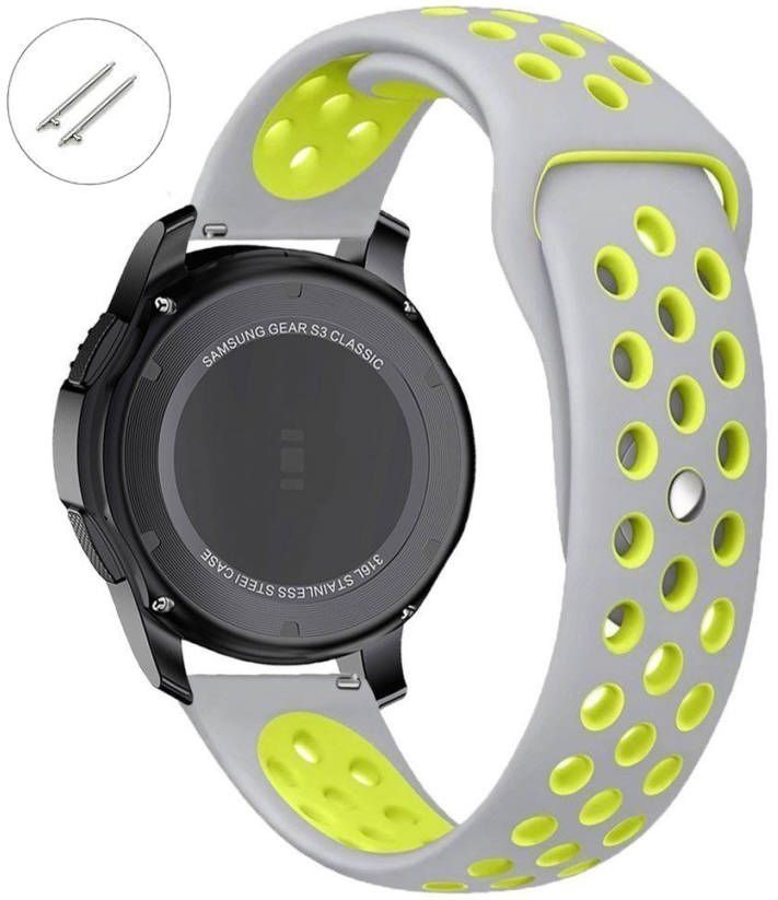 Pebble Time Classic Round Grey & Green Sports Silicone Replacement Watch Band Strap Quick Release Pins #4077