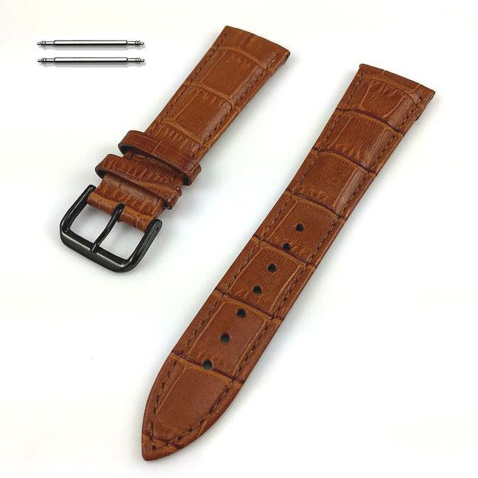 Pebble Time Classic Round Light Brown Croco Leather Replacement Watch Band Strap Black PVD Steel Buckle #1054