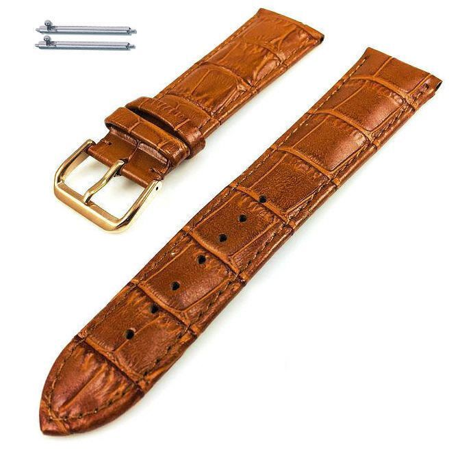Pebble Time Classic Round Light Brown Croco Leather Replacement Watch Band Strap Rose Gold Buckle #1074