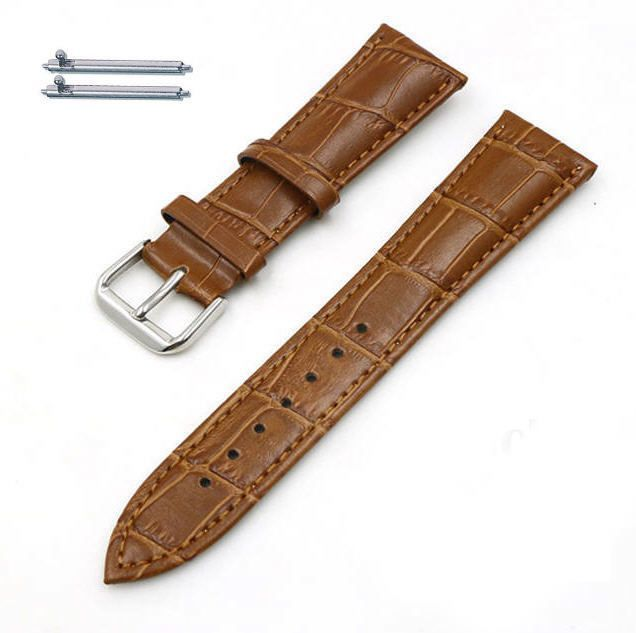 Pebble Time Classic Round Light Brown Croco Leather Replacement Watch Band Strap Steel Buckle #1044