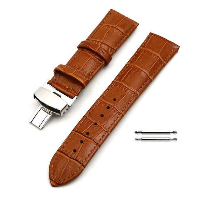 Pebble Time Classic Round Light Brown Croco Leather Replacement Watch Band Strap Steel Butterfly Buckle #10314
