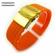 Pebble Time Classic Round Orange Rubber Silicone Replacement Watch Band Strap Gold Double Lock Buckle #4013G