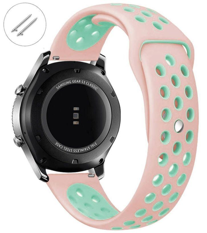 Pebble Time Classic Round Pink & Turquoise Silicone Replacement Watch Band Strap Quick Release Pins #4080
