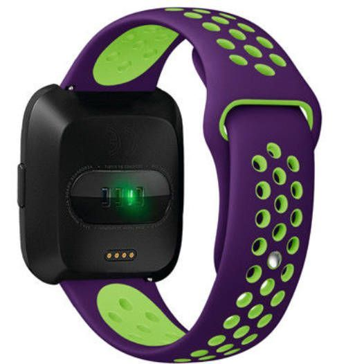 Pebble Time Classic Round Purple & Green Silicone Replacement Watch Band Strap Quick Release Pins #4079