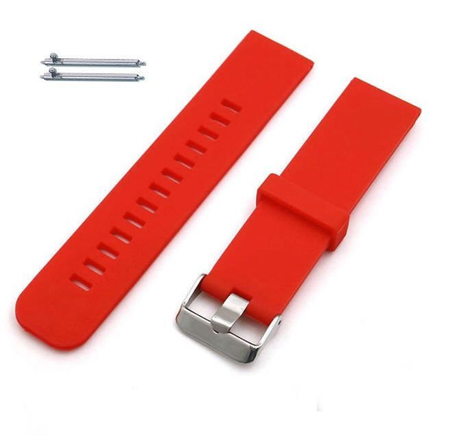 Pebble Time Classic Round Red Silicone Rubber Replacement Watch Band Strap Wide Style Metal Steel Buckle #4023