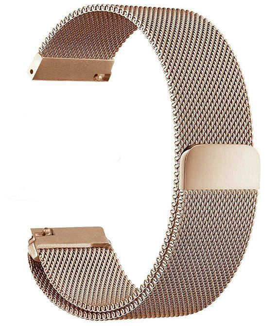 Pebble Time Classic Round Rose Gold Magnetic Clasp Steel Metal Mesh Milanese Bracelet Watch Band Strap #5044