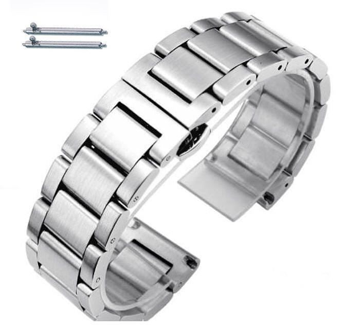Pebble Time Classic Round Stainless Steel Brushed Metal Replacement Watch Band Strap Butterfly Clasp #5071