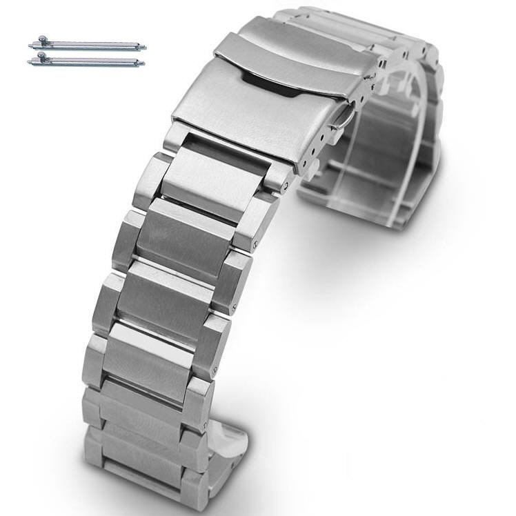 Pebble Time Classic Round Stainless Steel Metal Bracelet Replacement Watch Band Strap Double Locking clasp #5003