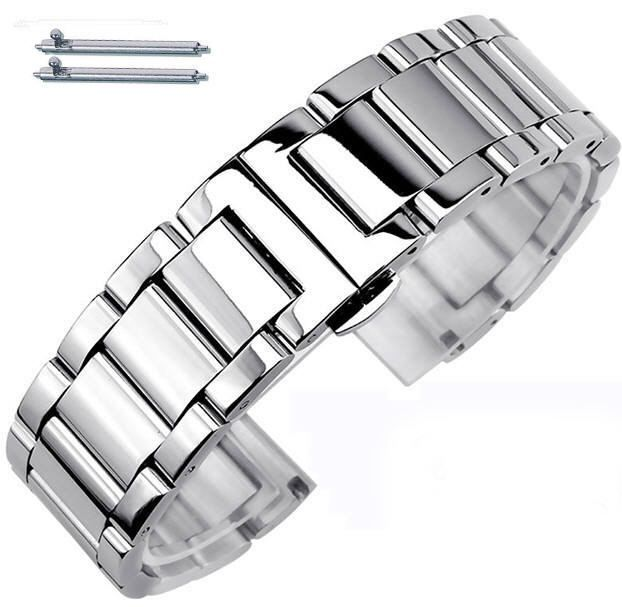 Pebble Time Classic Round Stainless Steel Metal Bracelet Replacement Watch Band Strap Push Butterfly Clasp #5010