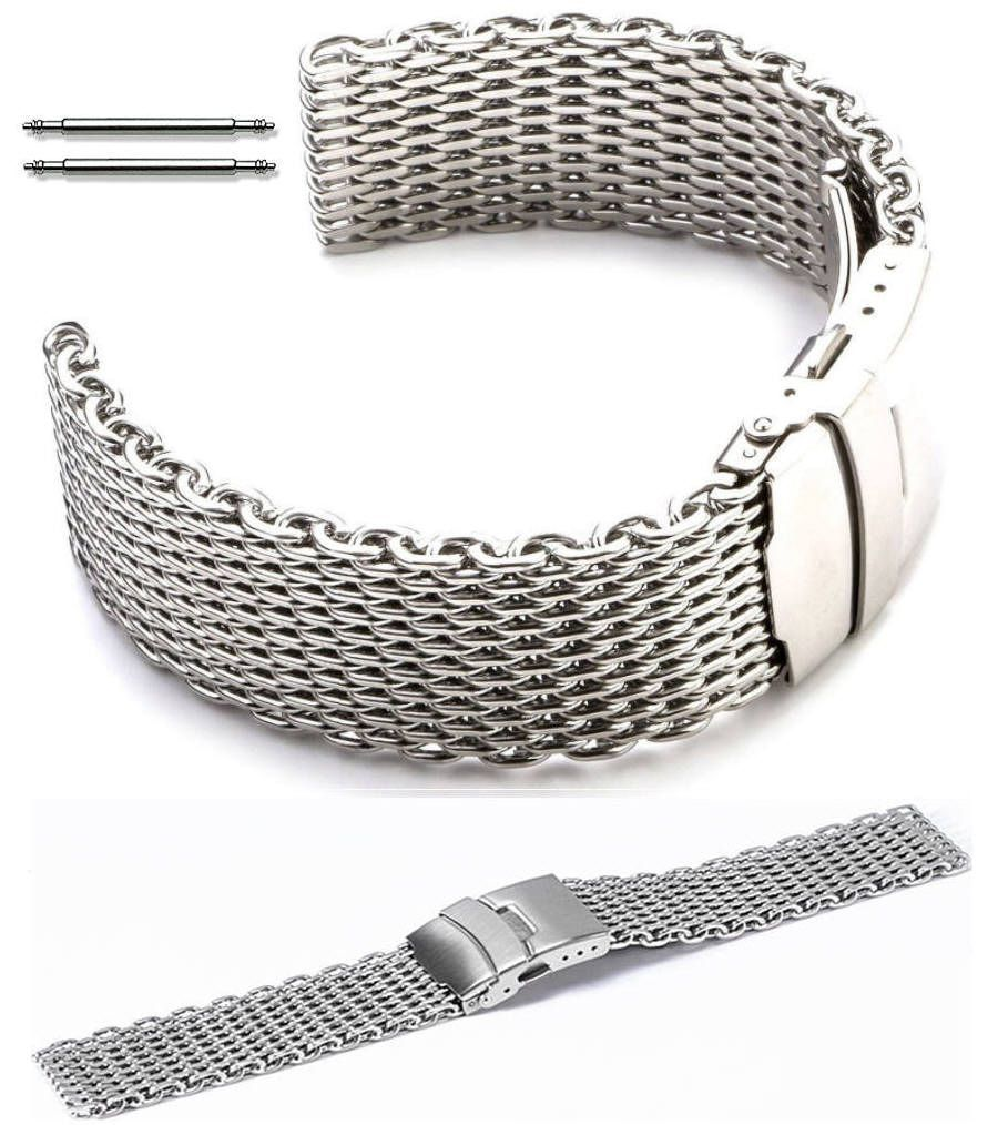 Pebble Time Classic Round Stainless Steel Metal Shark Mesh Bracelet Watch Band Strap Double Locking Clasp #5030