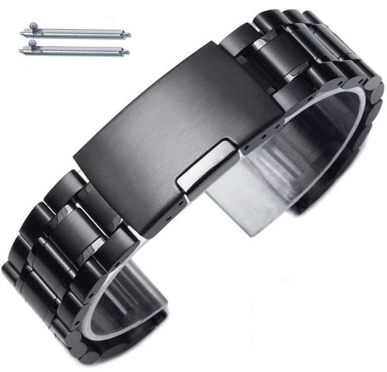 Pebble Time Classic Round Steel Metal Bracelet Replacement Watch Band Strap PVD Black Push Button Clasp #5016