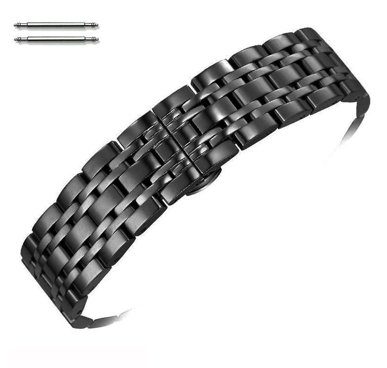 Pebble Time Classic Round Steel Polished Black Metal Replacement Watch Band Strap Butterfly Clasp #5056