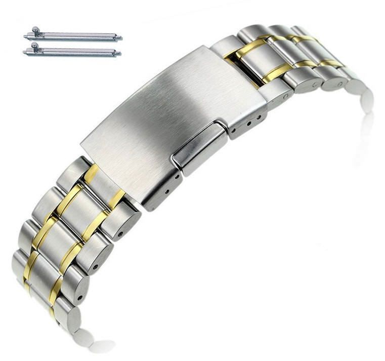 Pebble Time Classic Round Two Tone Gold Steel Metal Bracelet Replacement Watch Band Strap Push Button Clasp #5019