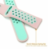 Pink & Turquoise Silicone Replacement 20mm Watch Band Strap Quick Release Pins #4080