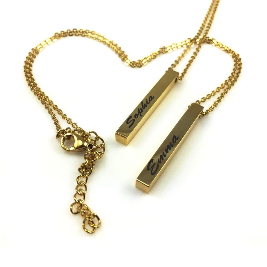 Polished Gold Tone Personalized Laser Engraved Name Plate Vertical Bar Necklace Pendant #1003