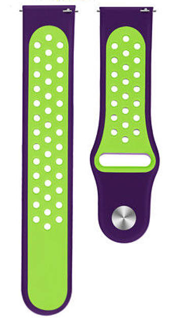 Lacoste Compatible Purple & Green Silicone Replacement Watch Band Strap Quick Release Pins #4079