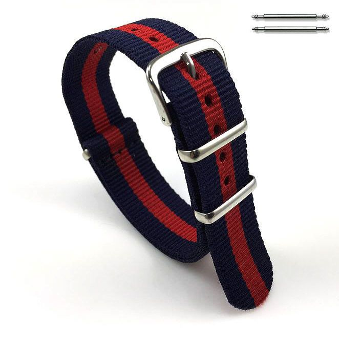 Red and Navy Stripes One Piece Slip Through Nylon 20mm Watch Band Strap #6007