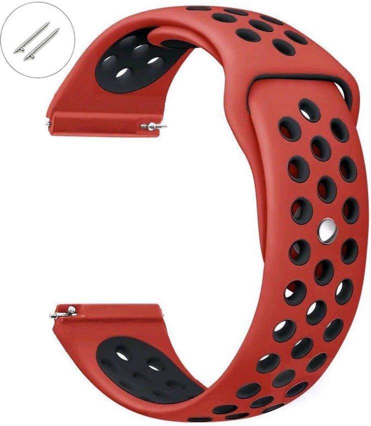 Red & Black Sport Silicone Replacement 20mm Watch Band Strap Quick Release Pins #4075
