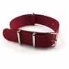 Red One Piece Slip Through Nylon 20mm Watch Band Strap Silver Buckle #6F05