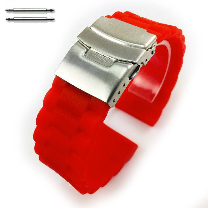 Red Silicone Replacement 18mm Watch Band Strap Double Locking Buckle #4093