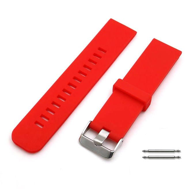 Red Silicone Replacement 18mm Watch Band Strap Wide Style Metal Steel Buckle #4023