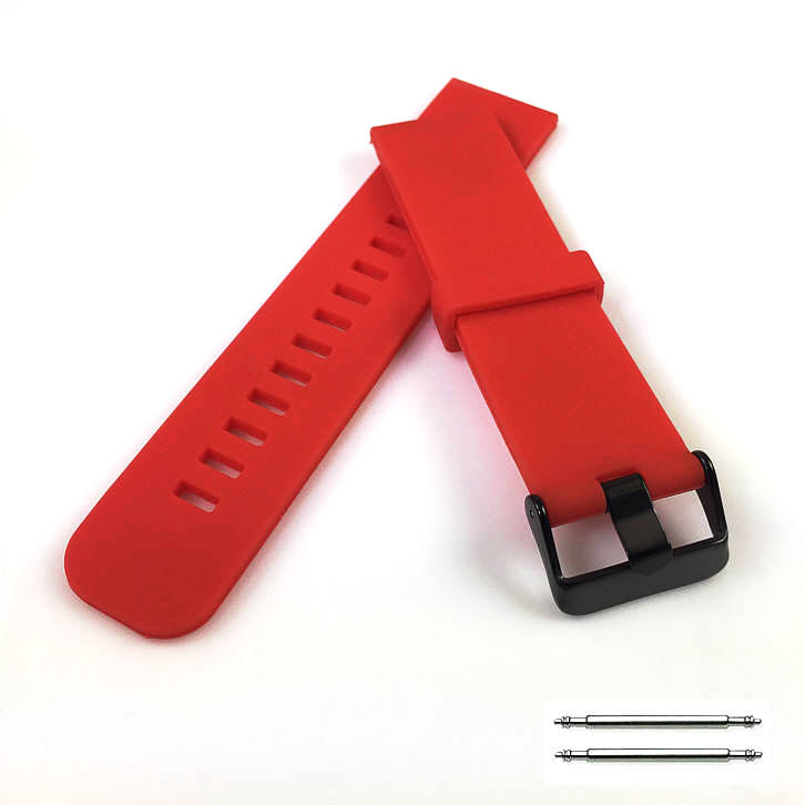 Red Silicone Replacement 20mm Watch Band Strap Wide PVD Metal Steel Buckle #4027