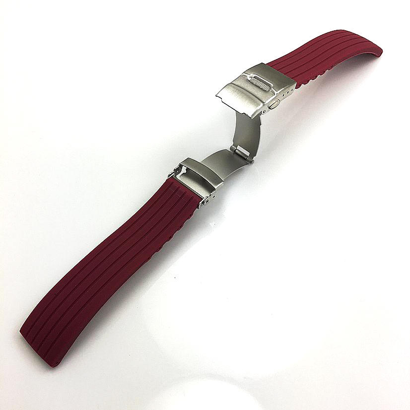 Red Silicone Replacement Watch Band Strap Double Locking Clasp #4431