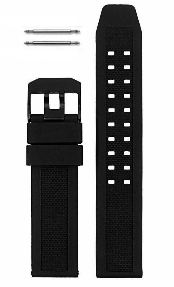 Relic Compatible 23mm Black Rubber Silicone Replacement Watch Band Strap PVD Steel Buckle #4002