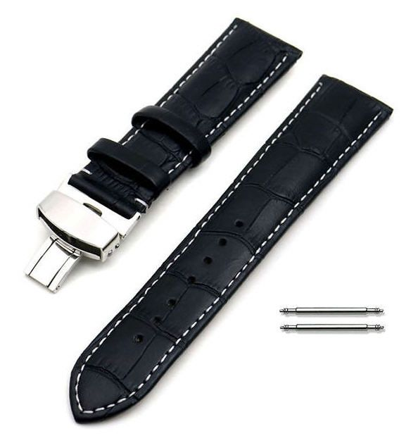 Relic Compatible Black Croco Genuine Leather Watch Band Strap Steel Butterfly Buckle White Stitching #1034