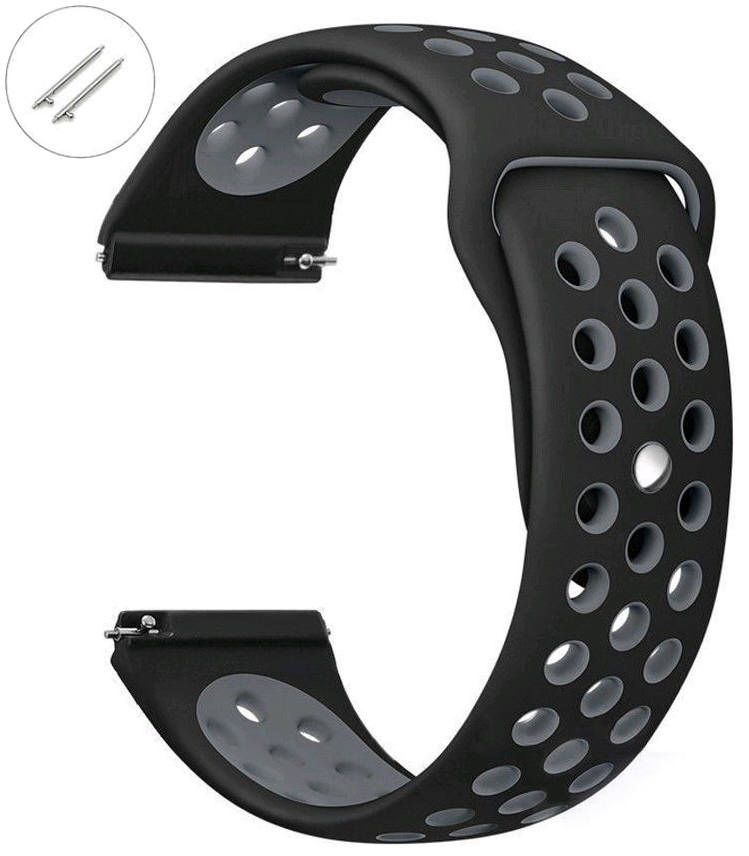 Relic Compatible Black & Gray Sport Silicone Replacement Watch Band Strap Quick Release Pins #4072