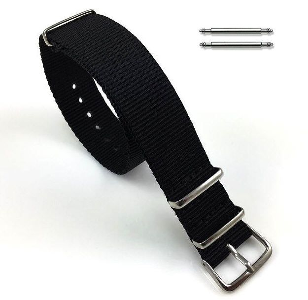 Relic Compatible Black One Piece Slip Through Nylon Watch Band Strap Silver Steel Buckle #6002