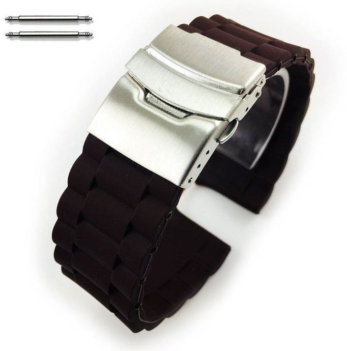 Relic Compatible Brown Rubber Silicone Replacement Watch Band Strap Double Locking Buckle #4095