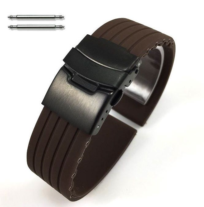 Relic Compatible Brown Rubber Silicone Watch Band Strap Double Locking Black Steel Buckle #4018