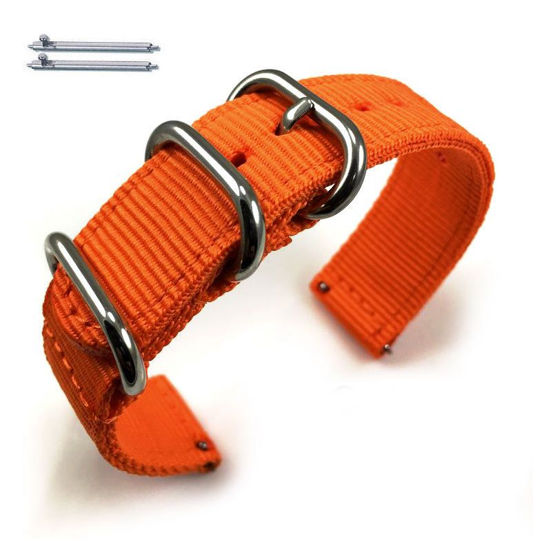 Relic Compatible Orange Nylon Watch Band Strap Belt Army Military Ballistic Silver Buckle #6037