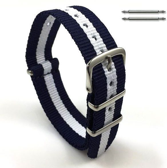 Relic Compatible White & Navy Stripes One Piece Slip Through Nylon Watch Band Strap SS Buckle #6008