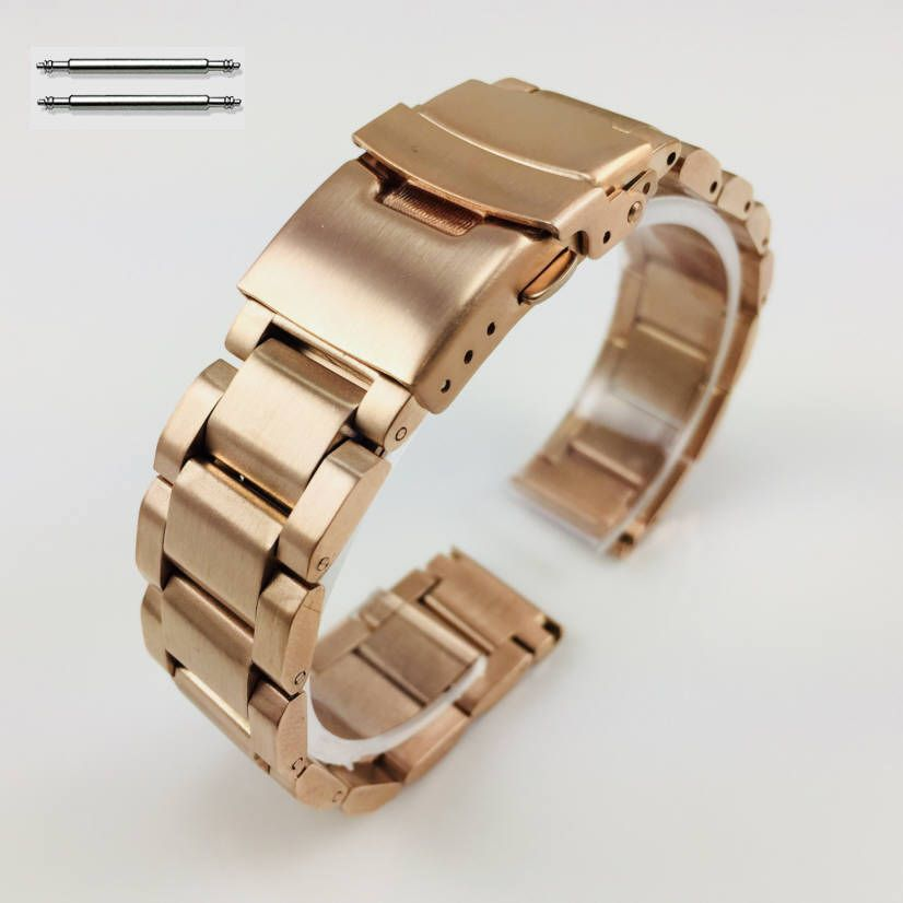 Rose Gold Stainless Steel Metal 20mm Watch Band Double Locking Buckle #5000RG