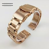 Rose Gold Stainless Steel Metal Watch Band Strap Double Locking Buckle #5000RG