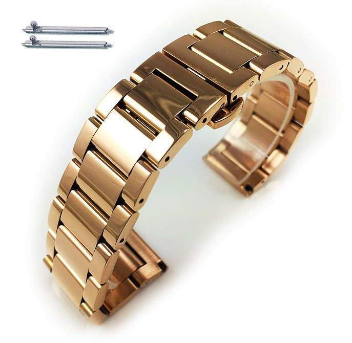 Rose Gold Steel Metal Bracelet Replacement 18mm Watch Band Butterfly Clasp #5013