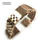 Rose Gold Steel Metal Watch Band Strap Bracelet Double Locking Buckle #5054