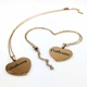 Rose Gold Tone Personalized Laser Engraved Heart Shaped Name Plate Necklace Pendant #1014