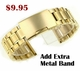Black Silicone Rubber w. Gold Bullets Replacement Watch Band Strap #4060