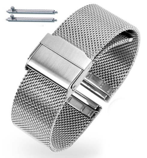 Silver Steel Metal Adjustable Mesh Bracelet 20mm Watch Band Double Lock Clasp #5025