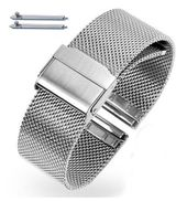 Silver Steel Metal Adjustable Mesh Bracelet Watch Band Strap Double Lock Clasp #5025