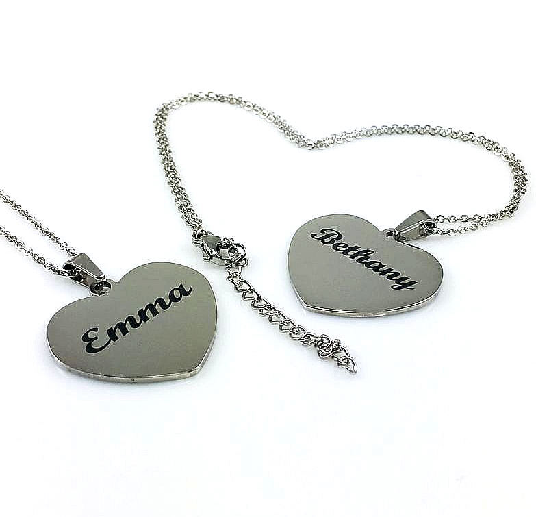 Silver Tone Personalized Laser Engraved Heart Shaped Name Plate Necklace Pendant #1011