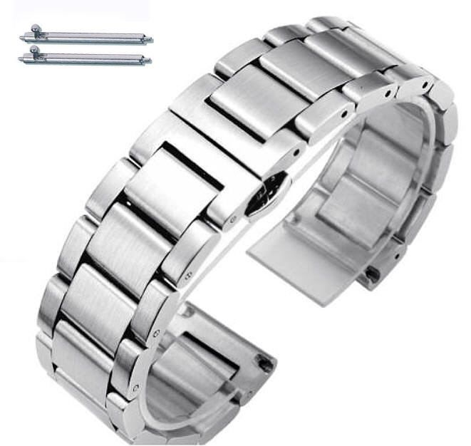 Stainless Steel Brushed Metal Replacement 20mm Watch Band Butterfly Clasp #5071