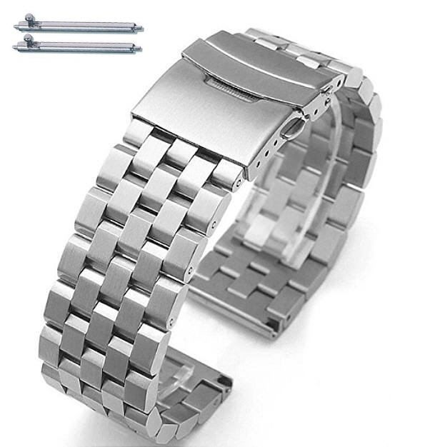Stainless Steel Metal 20mm Watch Band Bracelet Double Locking Buckle #5051