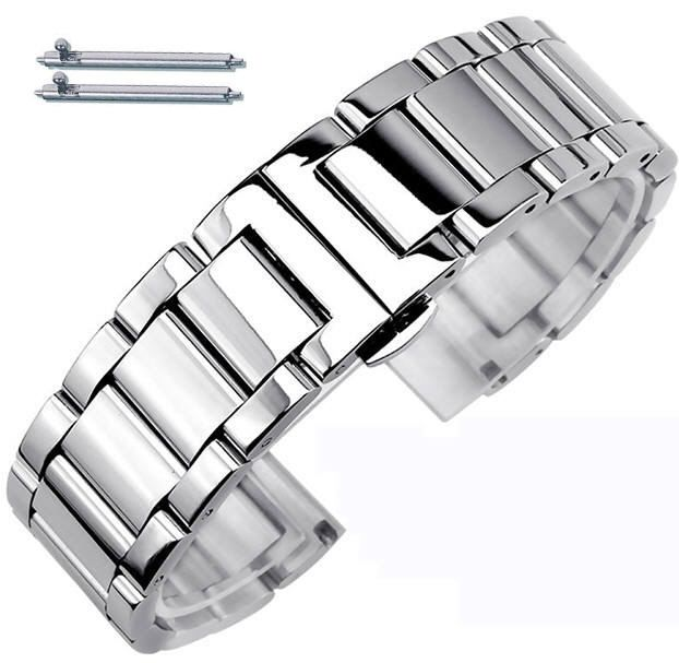 Stainless Steel Metal Bracelet Replacement 18mm Watch Band Butterfly Clasp #5010