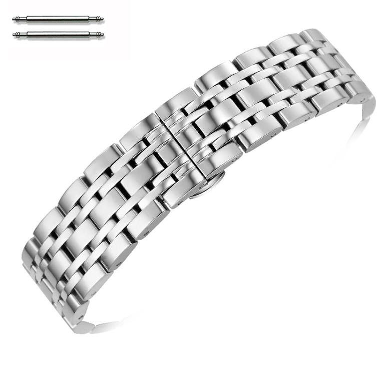 Stainless Steel Polished Metal Replacement 18mm Watch Band Butterfly Clasp #5055