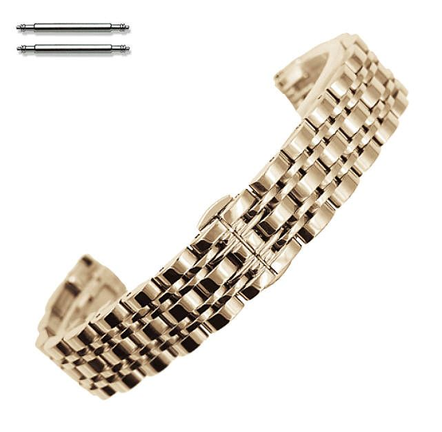 Steel Polished Rose Gold Metal Replacement 20mm Watch Band Butterfly Clasp #5058