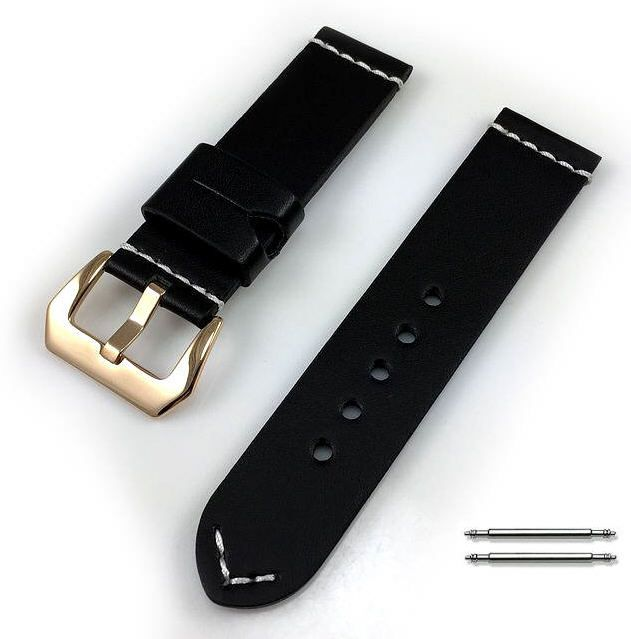 Timex Compatible Black Leather Replacement Watch Band Strap Rose Gold Buckle White Stitching #1103